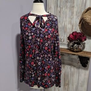 August Silk floral print, double-bell sleeve top